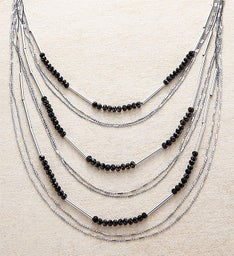 Gunmetal Layered Beaded Necklace by Bayberry Road