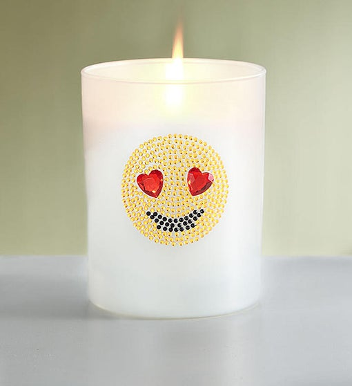Jeweled Heart Eyes Emoji Candle