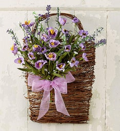 Purple Hanging Basket Faux Door Hanger