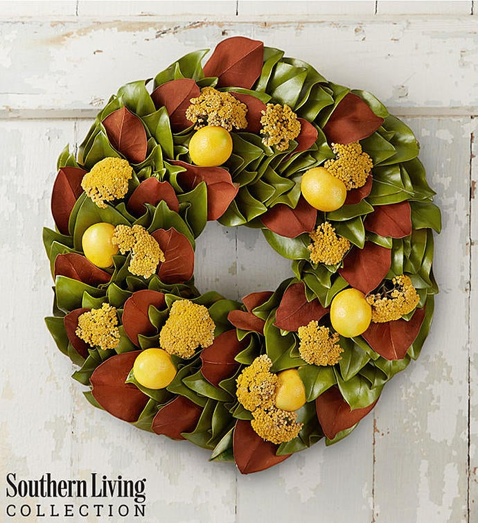Southern Living®  Preserved Magnolia & Lemon Wreath