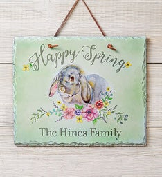 Personalized Happy Spring Bunny Sign