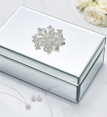 Mirrored Jewelry Box with Swarovski Set