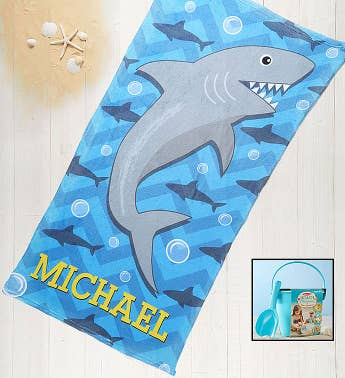 Personalized Shark Towel & Sand Memories Kit