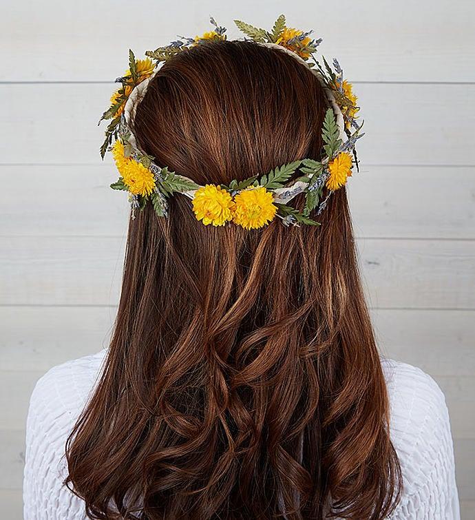 Preserved Floral Crown - Maize Yellow