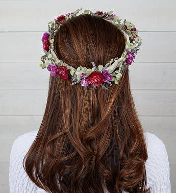 Preserved Floral Crown - Byzantine Purple