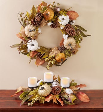 Shades of Autumn Pumpkin Centerpiece & Wreath-24""