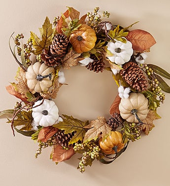Autumn Pumpkin Wreath & Centerpiece-24""