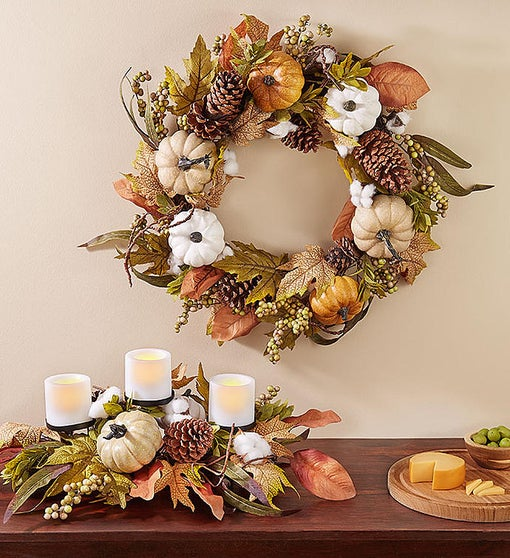 "Shades of Autumn Pumpkin Wreath- 24"" & Centerpiece"