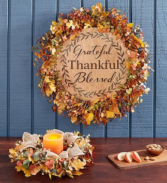 Harvest Blessings Preserved Centerpiece & Wreath