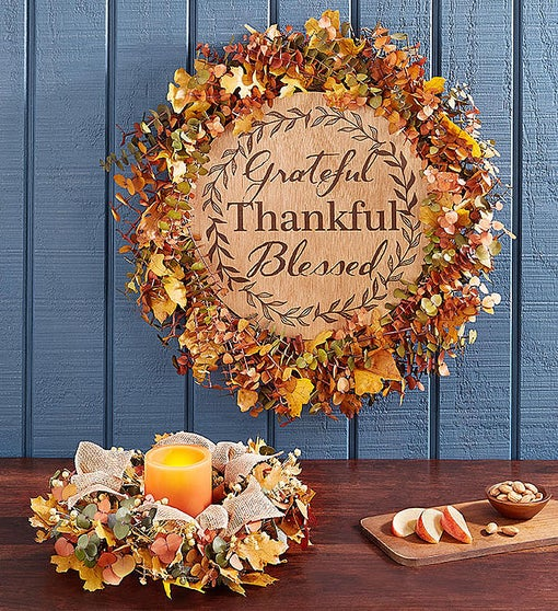 Harvest Blessings Preserved Wreath & Centerpiece