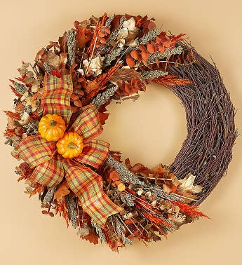 Preserved Harvest Plaid Wreath and Cornucopia