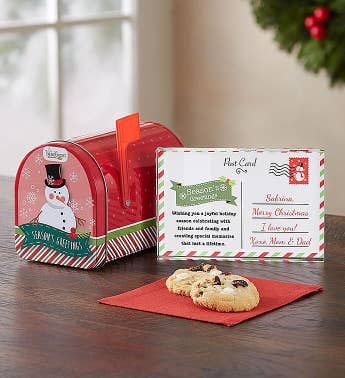 Personalized Seasons Greeting Card And Cookies