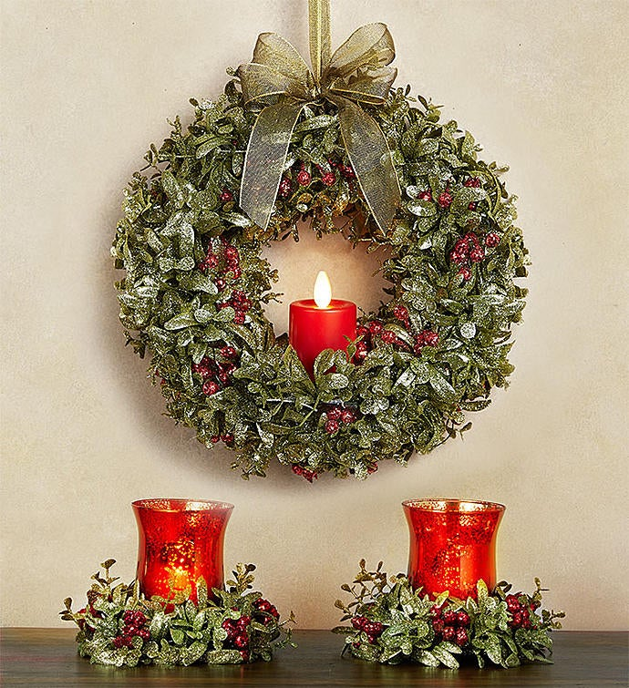 Kissing Krystals® Light Up Wreath And Votive Holder Pair