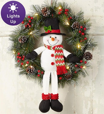 Keepsake Snowman Wreath with LED Lights- 22