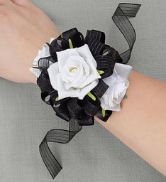 Keepsake White & Black Corsage And Boutonniere
