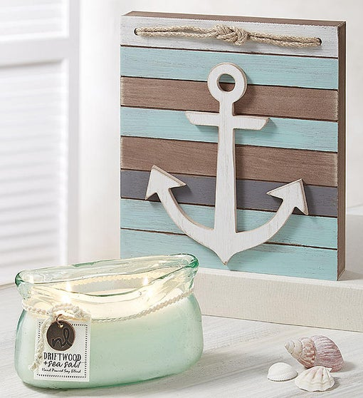 Northern Lights Candle & Anchor Plaque