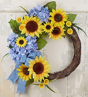 Keepsake Farmhouse Sunflower Wreath- 18""