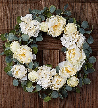 Keepsake Serene White Hydrangea Wreath-24""