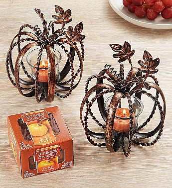 Pumpkin Tealight Duo with Yankee Candle® Tealights