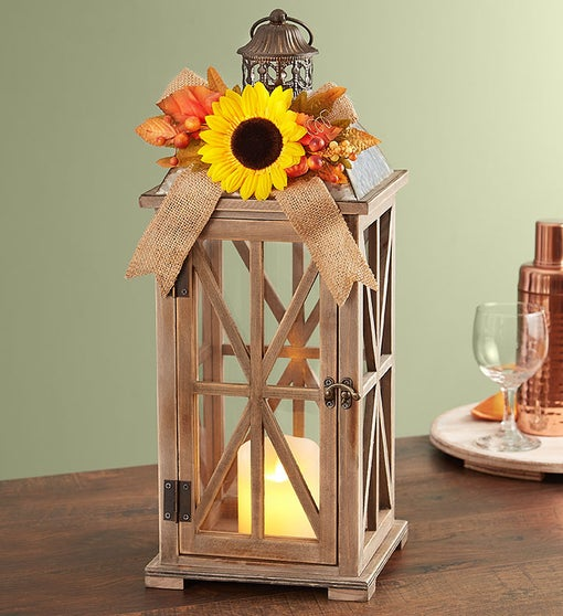 Farmhouse Sunflower Lantern