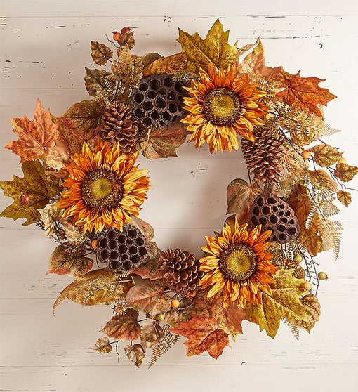 Sunflower Lotus Pod Centerpiece & Wreath-24""