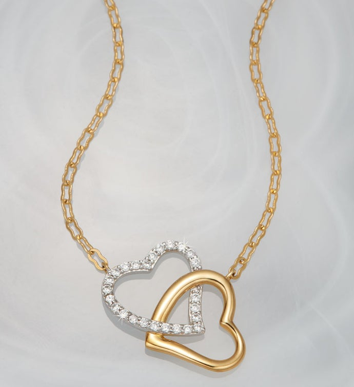 Crislu® Double Heart Necklace with Jewelry Box
