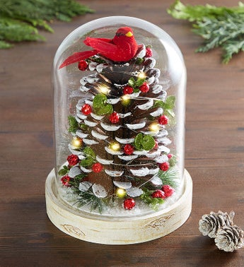 Kissing Krystals® Light Up Pinecone Cloche