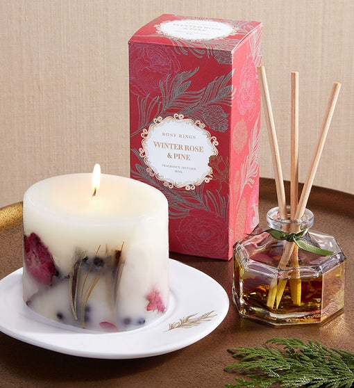Rosy Rings Winter Rose & Pine Gift Set