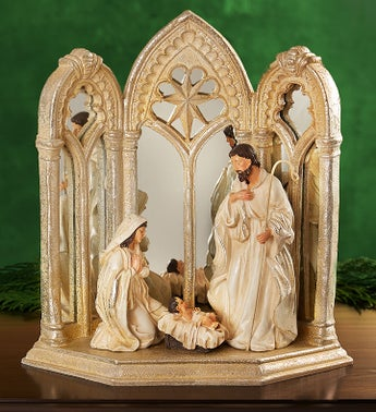 Mirrored Nativity Scene