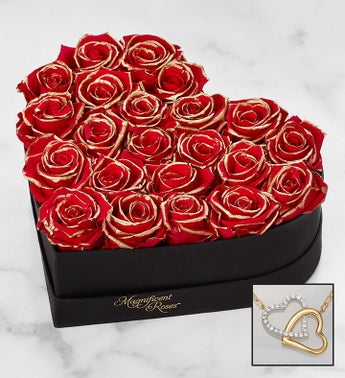 Magnificent Roses® Preserved Gold Kissed Red Heart with Necklace