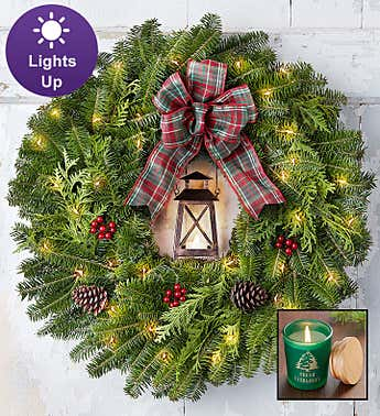 Rustic Lantern Wreath + Free Candle