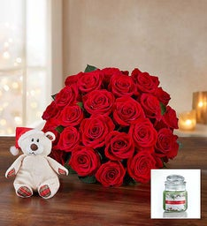 Merry Red Roses + Free Candle