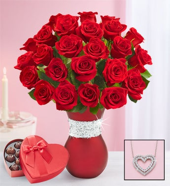Sparkle Her Day™ Red Roses
