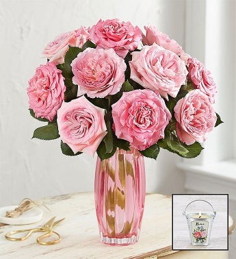 English Garden Rose Bouquet, Pink