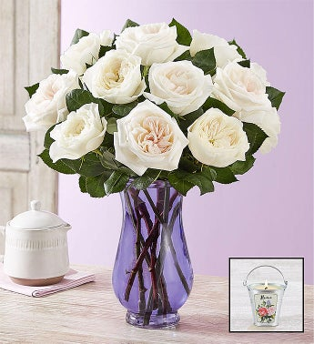 English Garden Rose Bouquet, White