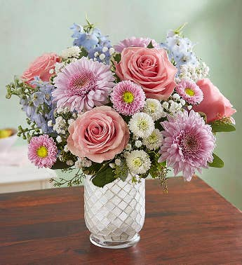 Pink flowers pink bouquet flower arrangement delivery 1800flowers floral melody in white mosaic vase mightylinksfo