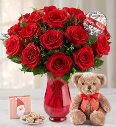 Christmas Red Roses with Balloon + Free Cookies