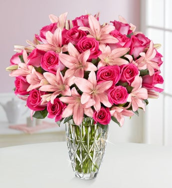 Deluxe Pink Rose & Lily Bouquet
