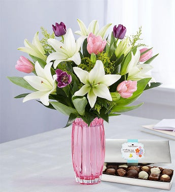 Spring Tulip  Lily Bouquet