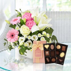 Pink Pure Bliss Flowers & Chocolates