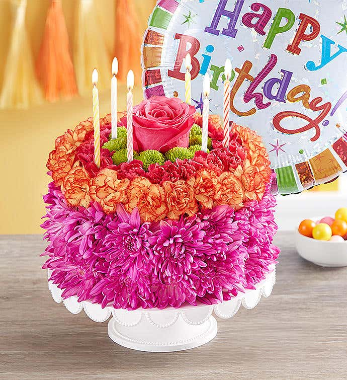 Birthday Wishes Flower Cake® Vibrant