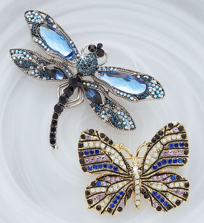 Jeweled Butterfly and Dragonfly Pin