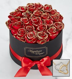 Magnificent Roses® Preserved Gold Kissed Red Roses