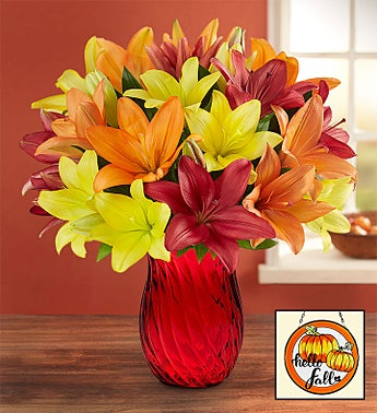 Autumn Lily Bouquet + Free Vase