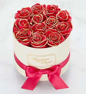 Magnificent Roses® Preserved Gold Kissed Hot Pink Roses