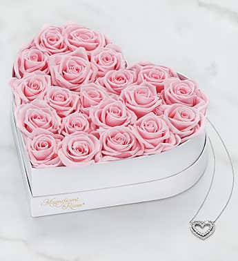 Magnificent Roses® Preserved Pink Heart & Necklace
