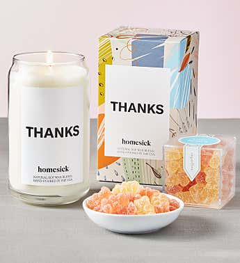Thanks Candle by Homesick With Sugarfina Gummies