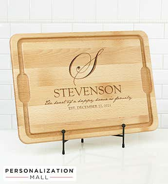 Personalized Heart of Our Home Cutting Board
