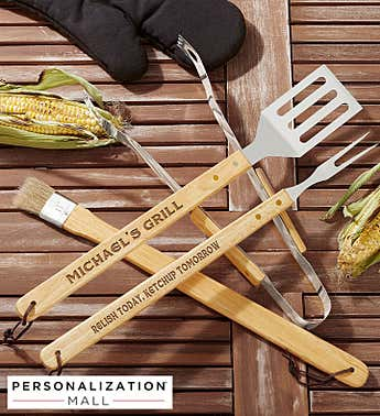 Personalized 4-Piece Personalized BBQ Utensil Set