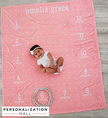 Monthly Milestone Personalized Baby Fleece Blanket